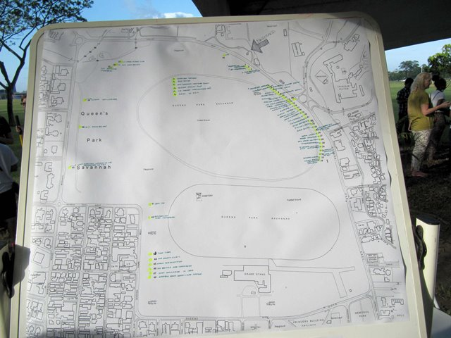 Map of Queen's Park Savannah where the 50 trees were planted