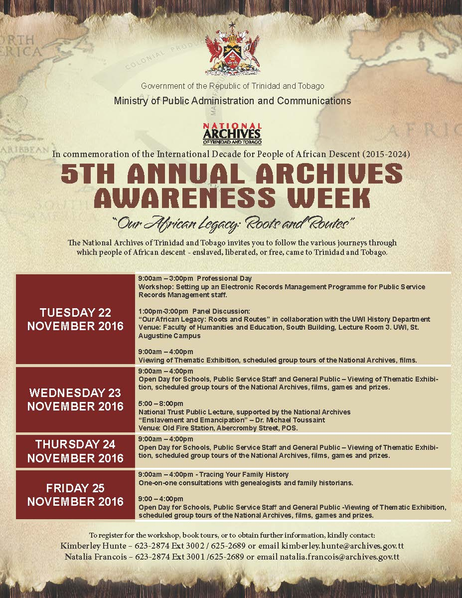 Schedule of Events - 5th Annual Archives Awareness Week